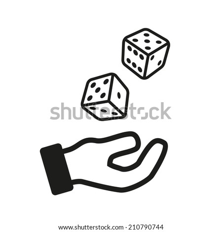 Male hand rolling dice isolated on white background.  illustration - stock photo