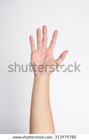 Male hand says hello, isolated on white - stock photo