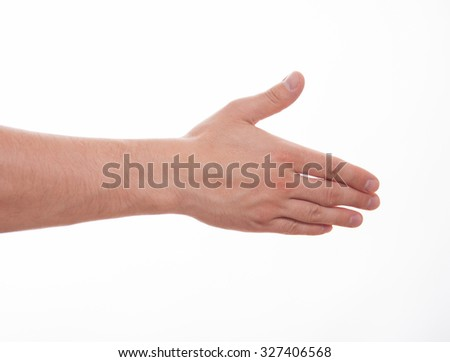 Male hand showing a gesture of a support, white background - stock photo