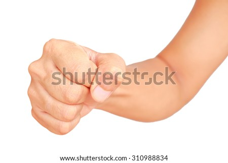 Male hand showing clutched in his fist isolated on white background
