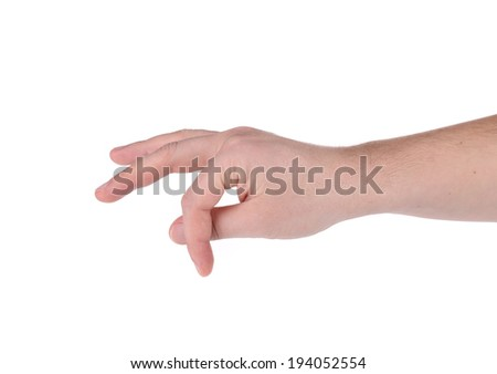 Male hand showing something. Isolated on a white background.