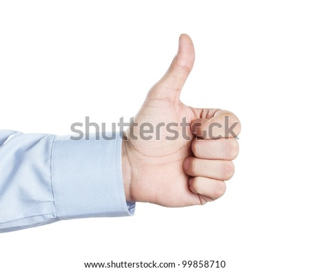 Male hand showing thumbs up or like symbol isolated on white background - stock photo