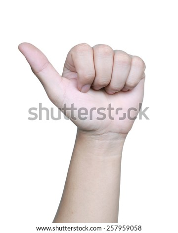 Male hand showing thumbs up sign isolated on white background - stock photo