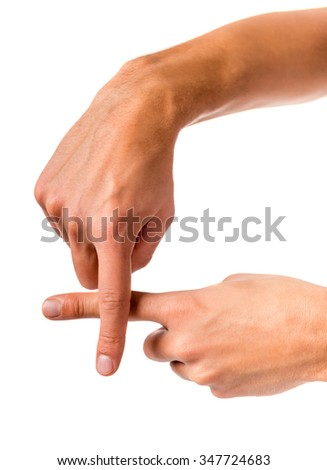 Male hand sign isolated on a white background
