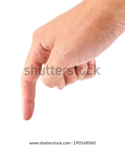 Male hand simulating pressing or pushing on something isolated on white background - stock photo
