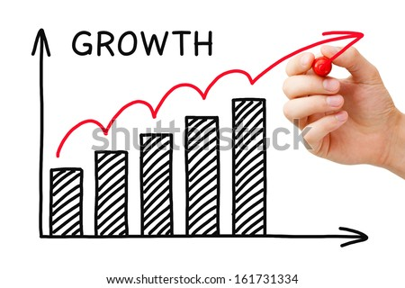 Male hand sketching Growth Graph with marker on transparent wipe board.  - stock photo