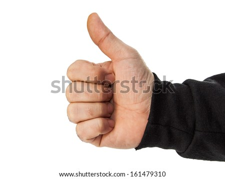 male hand thumbs up isolated on white - stock photo