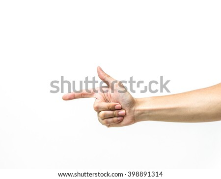 Male hand up with finger point, isolated on white background