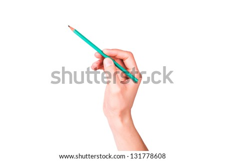 Male hand with a pencil writing something isolated on white - stock photo