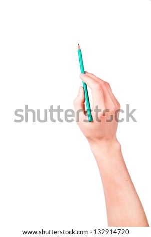 Male hand with a pencil writing something isolated on white