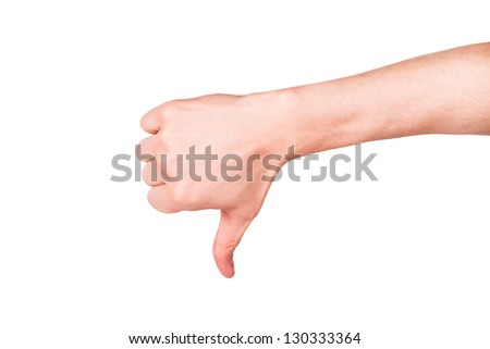 Male hand with a thumb down isolated on white.  Negative attitude, fail concept.