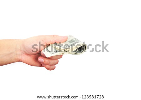 male hand with dollars isolated on a white background - stock photo