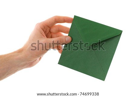 Male hand with envelope with a letter isolated on white