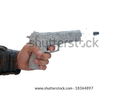 male hand with fire a shot newspaper pistol and bullet on white background. fake - stock photo