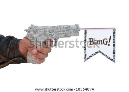male hand with fire a shot newspaper pistol and flag on white background. bang - stock photo