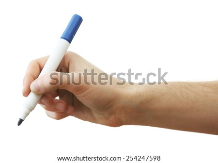 Male hand with marker isolated on white