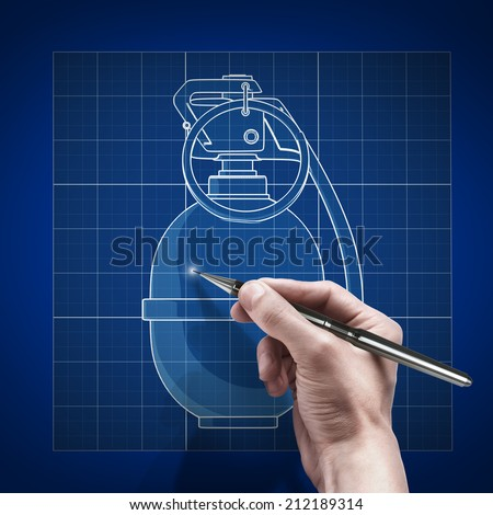 male hand with pen blueprint . engineer working on blue print concept Grenade.  - stock photo