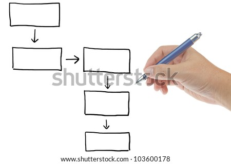 Male hand with pen drawing blank diagram isolated on white background - stock photo