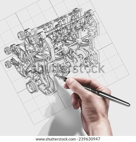 male hand with pen. engineer working on cad concept V8 Car engine