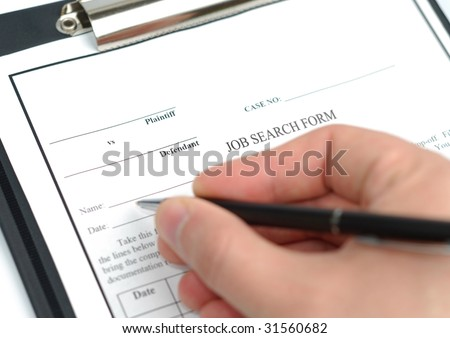 Male hand with pen filling in job search form - stock photo