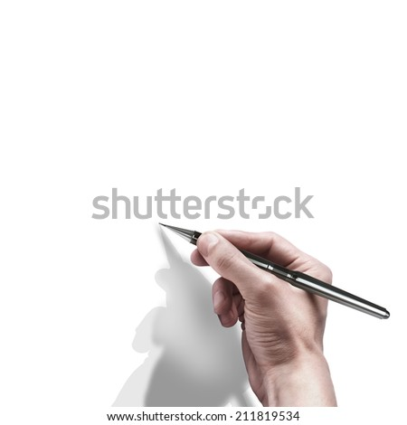 male hand with pen isolated on white background  - stock photo