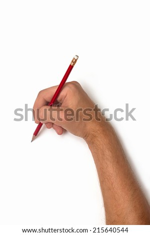 male hand with pencil on white background isolated - stock photo