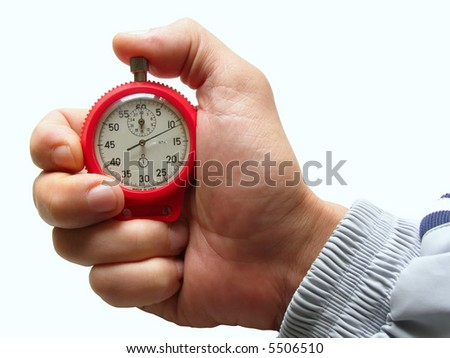 male hand with switched-on seconds counter