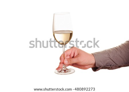 Male hand with white wine glass on a white background