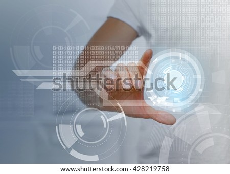 Male hand working with virtual screen. Modern technology and business strategy concept - stock photo