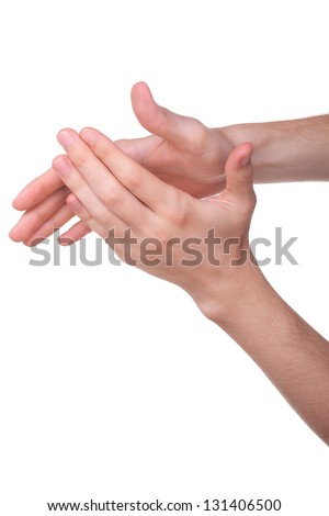 Male Hands applauding, isolated on a white background - stock photo