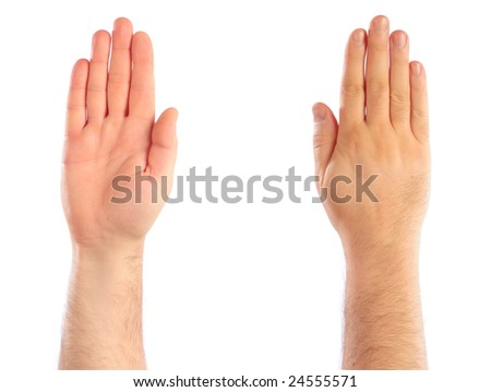 Male hands counting. Attention. Stop - stock photo
