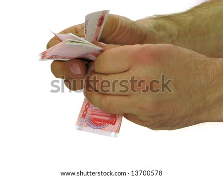 Male hands counting chinese money with white background - stock photo