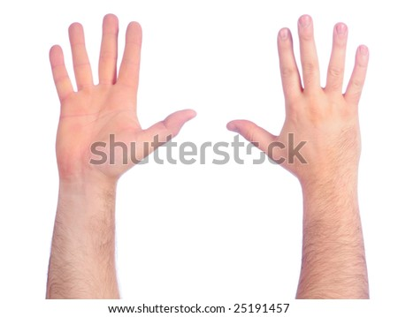 Male hands counting number 5 - stock photo