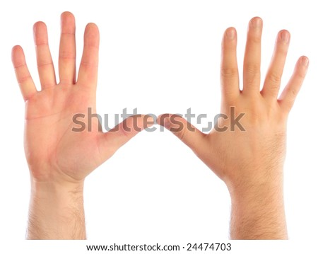 Male hands counting number 5. See also 24467833, 24467836, 24474706, 24474700