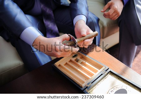 Male hands cutting cigar - stock photo