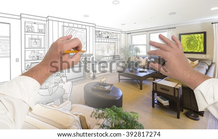 Male Hands Drawing Custom Living Room Design Gradating Into Photograph. - stock photo