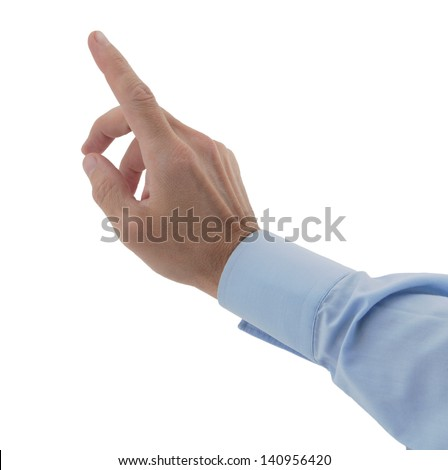 male hands finger on imaginary touch-pad isolated white - stock photo