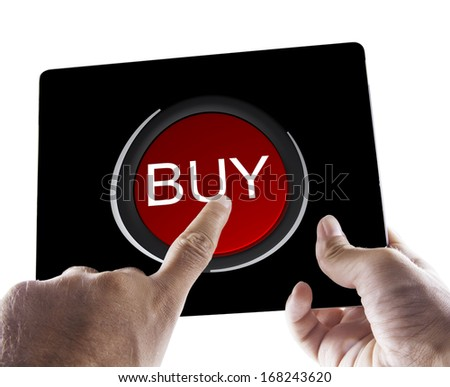 Male hands holding a black tablet with Buy symbol over white - stock photo