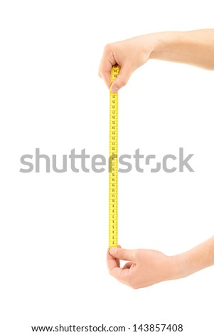 Male hands holding a measure tape isolated on white background