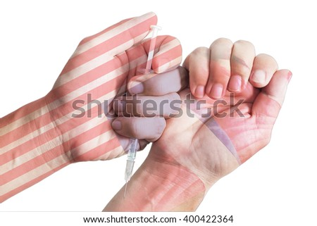 Male hands holding a syringe and injected. Isolated white background - stock photo