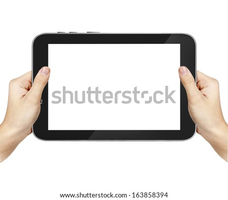 Male hands holding a tablet PC