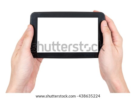 Male hands holding a  tablet touch computer gadget with touch blank screen on white background.