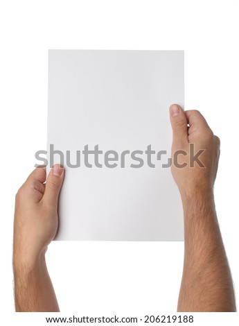 Male hands holding blank paper isolated on white background - stock photo