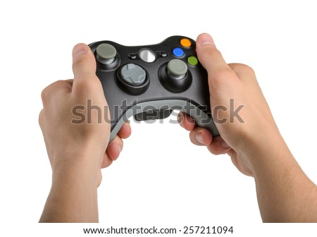 Male Hands Holding Gamepad isolated - stock photo