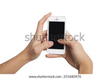 Male hands holding smartphone like texting (including clipping path)