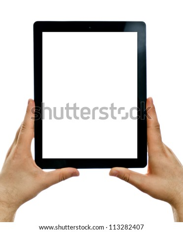 Male hands holding tablet computer. Isolated screen. Isolated on white