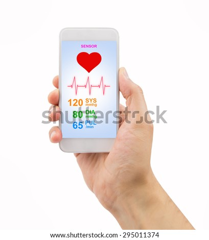 male hands holding touch phone with mobile app health sensor .All screen content is designed by my and not copyrighted by others and created with digitizing tablet and image editor - stock photo