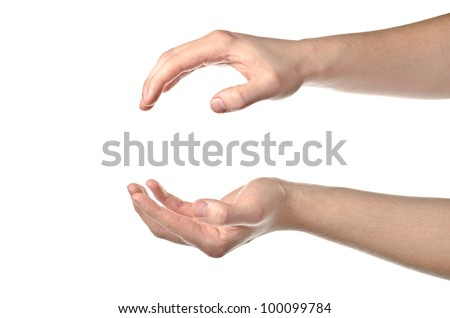 Male hands open isolated on white background