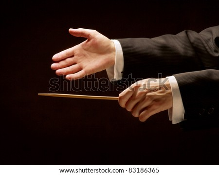 Male hands pointing with a  stick isolated on dark background.