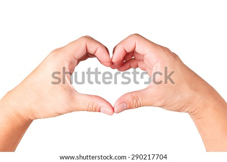 Male hands shaping a heart symbol on white background - stock photo